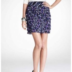 Ann Taylor Ikat Pleated Tiered Skirt Blue Pink NWT